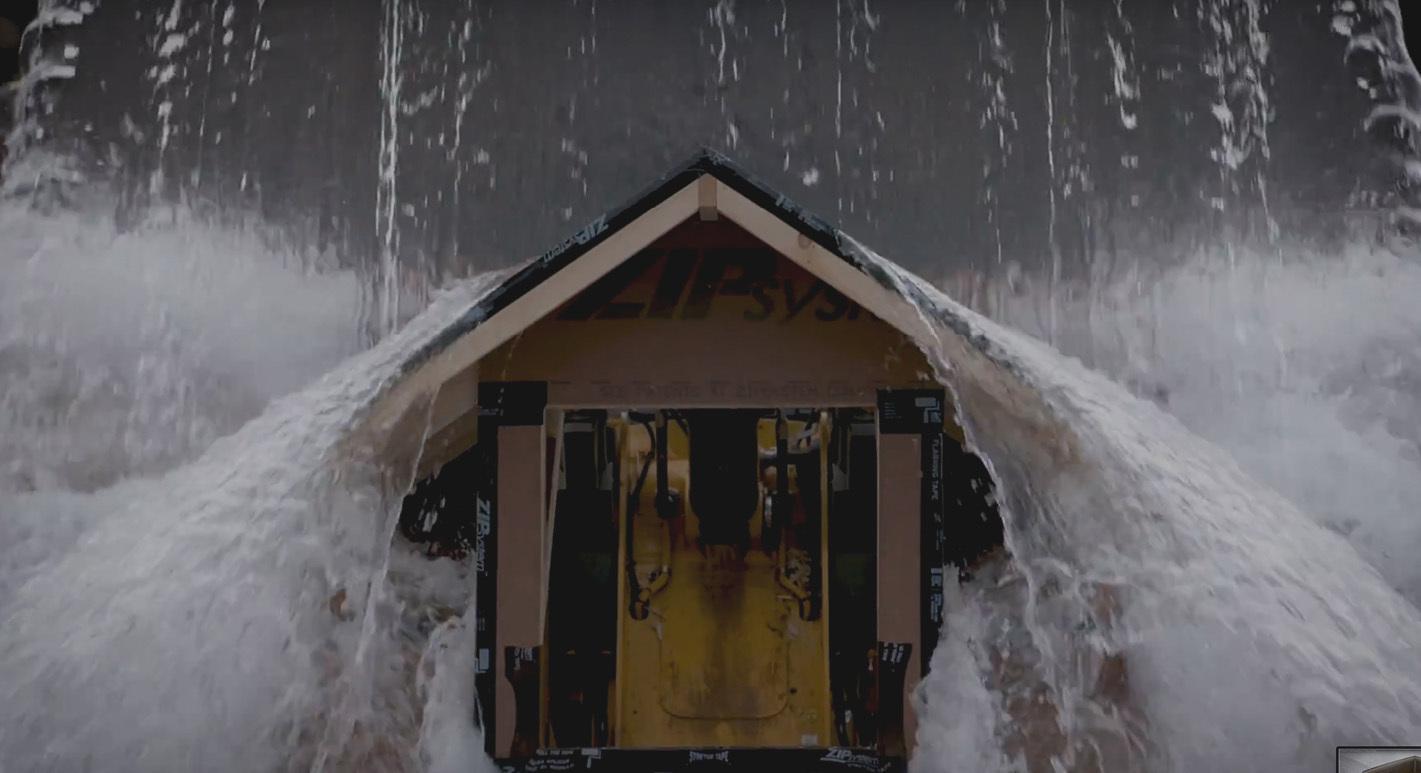 Zip roof video tons of water